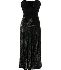saint laurent lurex velvet bustier dress - black