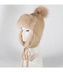 donna inverno caldo plus plush cappello beanie lavorato a maglia con paraorecchie cappello esterno antivento cappello leifeng