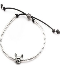 french bulldog head bracelet in sterling silver