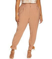open edit tie cuff casual pants, size 3x in tan mocha at nordstrom