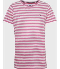 polera tommy jeans mc rosa - calce regular