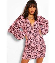 a-lijn zebraprint mini jurk met extreme pofmouwen, roze