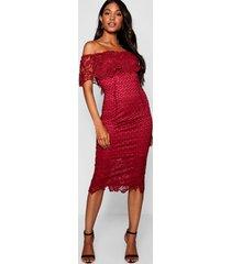boutique midi jurk met kant en open schouders, berry