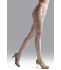 natori lace cut-out net tights, women's, white, size s natori