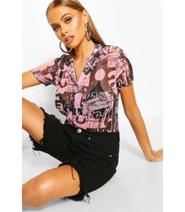 printed mesh button front shirt, pink