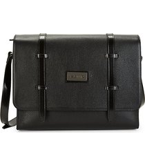 laurent pebbled leather messenger bag