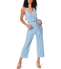 women's paige celia braided detail denim crop jumpsuit