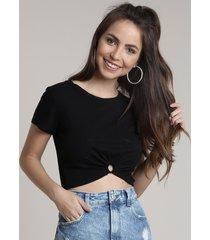 blusa feminina cropped canelada com argola manga curta decote redondo preta