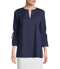 sela quarter-sleeve self-tie blouse