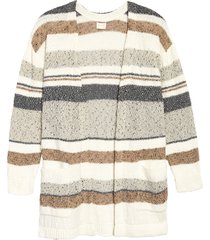 plus size women's caslon stripe texture cardigan