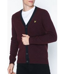 lyle & scott contrast placket cardigan tröjor burgundy