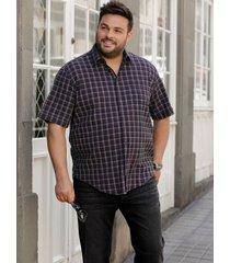 overhemd men plus grijs::fuchsia::zwart