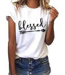 yoins camiseta blanca de manga corta con cuello redondo y flechas con letras