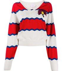 stella jean striped v-neck jumper - red