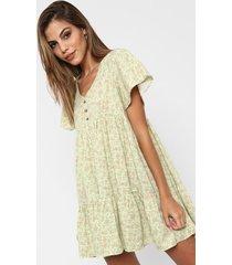 vestido  verde nano abril flores grande lino