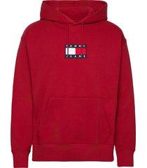 tjm small flag hoodie hoodie trui rood tommy jeans