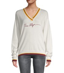 true religion women's graphic cotton-blend sweater - coastal sand - size s
