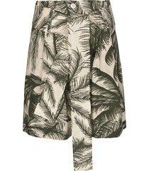 parosh tie-waist palm print shorts