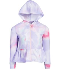 ideology toddler & little girls tie-dyed peplum hoodie, created for macy's