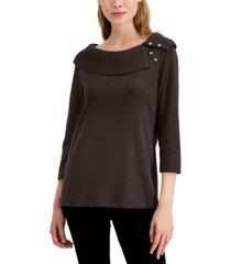 karen scott petite shawl-collar top, created for macy's