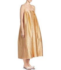 strapless foil drape dress