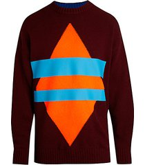 k-buss geometric jacquard sweater