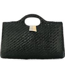katheleys vintage 1970's structured tote bag - black
