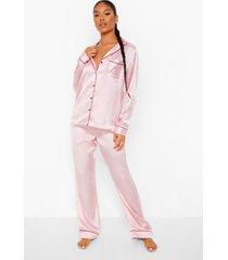 geborduurde satijnen candy cane pyjama set, pink