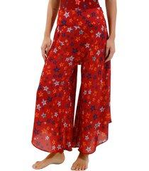 calça rosa chá behati starfish beachwear estampado feminina (estampado, gg)
