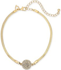thalia sodi gold-tone pave disc ankle bracelet, created for macy's