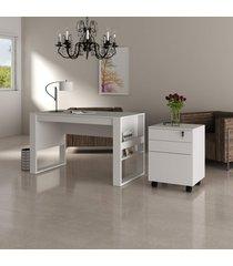 conjunto de escritã³rio com mesa e gaveteiro 01 branco dallas - multicolorido - dafiti