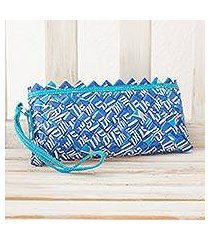 upcycled metalized wrapper and leather accent wristlet bag, 'eco blue' (nicaragua)