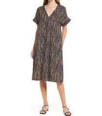 women's nordstrom short sleeve shift dress, size small - black