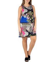 24seven comfort apparel women's plus size paisley sleeveless shift dress