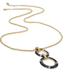 """charter club gold-tone pave & color-coated circle long pendant necklace, 36"""" + 2"""" extender, created for macy's"""