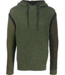 diesel chunky knit drawstring hoodie - green