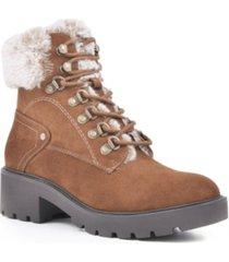 white mountain deserve lace-up lug sole booties women's shoes