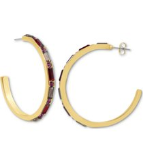rachel rachel roy gold-tone stone front large c-hoop earrings, 2""