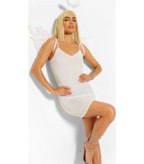 angel bodycon jurk met glitters, wit