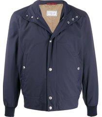 brunello cucinelli regular-fit funnel-neck jacket - blue