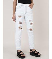 calça jeans feminina mom destroyed azul claro