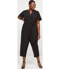 lane bryant women's lena flutter-sleeve notch-neck jumpsuit 16 black