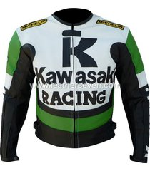 men mens kawasaki green cowhide leather motorcycle motorbike biker armour jacket