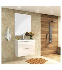 conjunto para banheiro pietra 80cm bosi gabinete suspenso + cuba e espelheira