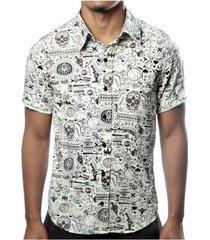 camisa camaleão urbano caveira exótica vintage masculina