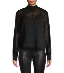 veronica beard women's aniya lace silk-blend blouse - black - size 2