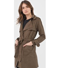 casaco trench coat mob suede verde - kanui
