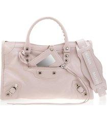 light pink classic city s logo belt tote bag