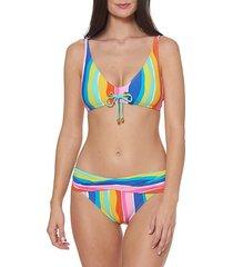 multicolor tie striped bikini top