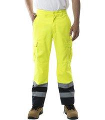 pantalon cargo canvas alta visibilidad amarillo jayson